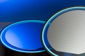 Processed Si-Wafers on a dicing tape